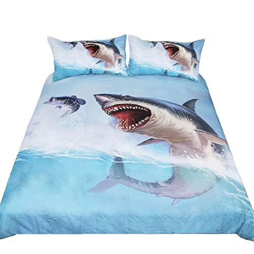 JSDJSUIT Bettwäsche-Set 3 Teile/Satz Shark Gedruckt Bettwäsche Set König Königin Twin Size Blau Bett Bettbezug Einzel Doppel Blatt Set Bettwäsche, US Königin 3 stücke - Camouflage Königin Blatt
