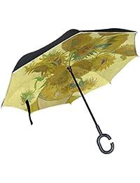 jstel doble capa puede Van Gogh girasol paraguas coches Reverse resistente al viento lluvia paraguas para
