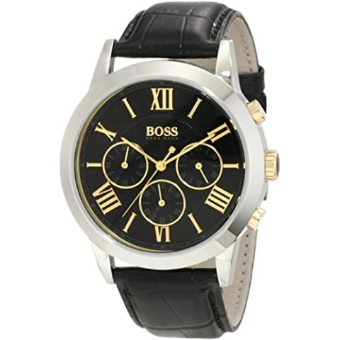 Hugo Boss Black Gents Stainless Steel Chronograph Watch with Leather Strap