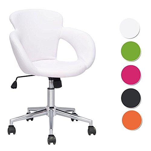 SixBros. Design Rollhocker Arbeitshocker Hocker Bürostuhl Weiß M-65335-1725