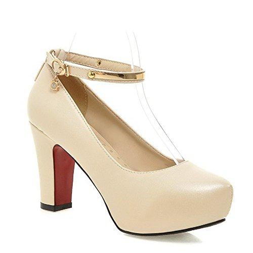 AgooLar Damen Weiches Material Rund Zehe Hoher Absatz Schnalle Pumps Schuhe Cremefarben