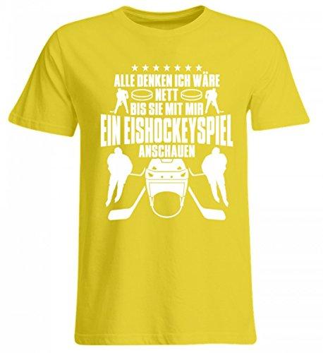 Shirtee Hochwertiges Übergrößenshirt - Alle Denken Ich Wäre Nett, bis Sie mit Mir ein Eishockeyspiel ansehen. Eishockey Eishockeyfan Mann Frau Geschenk