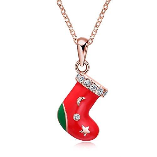 Beydodo Weihnachtsschmuck Vergoldet Kette Anhänger Weihnachten Strümpfe Halskette Rosegold für Damen Weihnachtskette