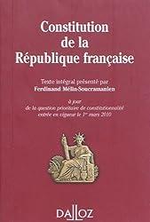 Constitution de la République française : Texte intégral de la Constitution de la Ve République à jour de la question prioritaire de constitutionnalité entrée en vigueur le 1er mars 2010