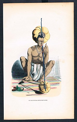 (Grafik Hindu Pennak Musik Indien Tracht Trachten costumes handkoloriert)