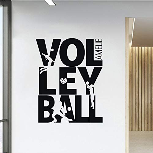 Looyy Wandtattoo Beach Volleyball Wandaufkleber Treten Silhouette Vinyl Decor Für Teenager Raum Sport Dekorationen 57 * 71 Cm