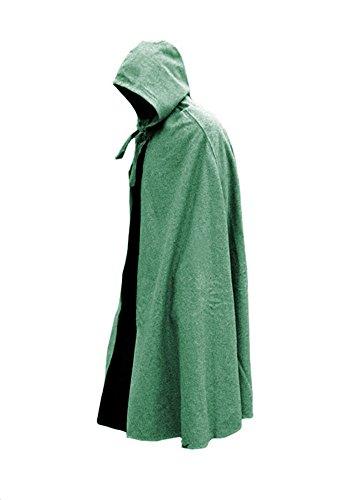 Schwerer Mittelaltericher Umhang mit Kapuze Kutte Cape Mantel LARP Wikinger verschiedene Farben Grün