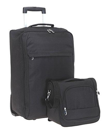 SPEAR Reise Koffer Set Light 60 cm + Beautycase Reisekoffer Trolley + Flüssigkeitenbeutel (Black / Schwarz)