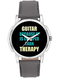 Wrist Watch For Men - Guitar Because It Is Cheaper Than Therapy - Analog Men's And Boy's Unique Quartz Leather...