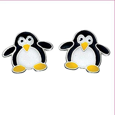 Silvadore - 925 de plata de ley Juego de pendientes de tuerca carcasa Animal de pingüino blanco negro y amarillo pies A854 - broche desplegable - caja de regalo incluye