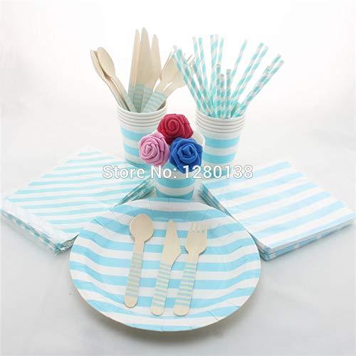 Jungen Baby Shower Papier Dekoration Geschirr Versorgung Hellblau Einweg Pappteller Tassen Strohhalme Treat Taschen Party Servietten Set, Chevron