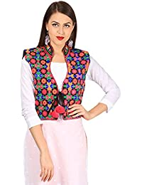 Vastraa Fusion Women's Solid Design Short Jacket/Waistcoat (VASTRAATS0118-XS, Multi-Colored)