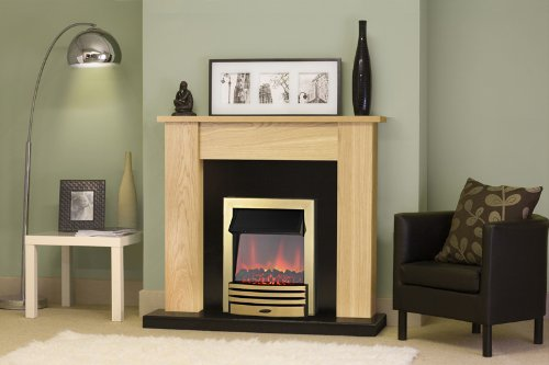 Adam New England Oak and Black Surround with Brass Eclipse Electric Fire, 2000 Watt