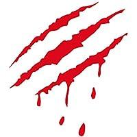 skgardeniamy Auto Agua Densidad Pegatinas, Monster Garra Mark Scratch Etiqueta Auto Vinilo Decal sangrientas Halloween Party Decoración, Rojo