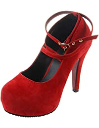 TOOGOO(R) New High-heeled Shoes Woman Pumps Shoes Platform Fashion Women Shoes High Heels 11cm Suede Red US5=EUR36...