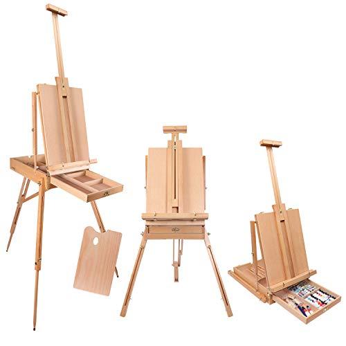 """Artiste Studio Chevalet -190 cm / 74.8"""" Portable Pliable Grand Chevalet - Reglable Toile Titulaire avec Tirage de Stockage et Palette - Idéal pour la Peinture et le Dessin"""