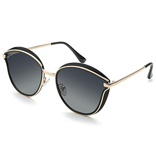 NHDZ Blue Lens (Bluekiki) Polarizing Sunglasses, Female Sunglasses, Color Film, Fashion Big Frame, Polarizing Driving Mirror, 6066 Black Frame, Black Gray Film.