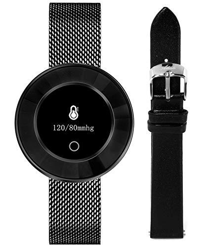 Fitness Tracker für Damen mit Herzfrequenz Blutdruck Sauerstoff Schrittzähler Smartwatch Armband Uhr - 9705 LB (Schwarz)