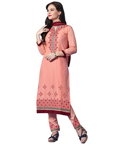 KVSFAB Women's Peach Pure Cotton Cambric Salwar Kameez[907Ph-3]