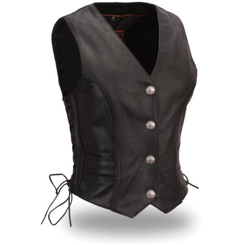 First Manufacturing Women's Braided Buffalo Nickel Vest (Black, X-Large) by First Manufacturing