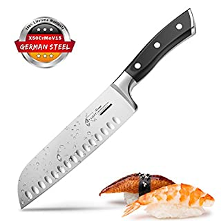 Couteau Japonais Couteau de Cuisine Couteau Santoku Professionnel 17cm German Acier Carbone Inoxydable Poignée Ergonomique pour Viande, Légumes, Fruits