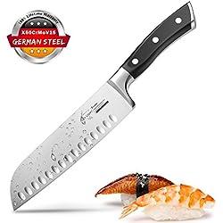 Couteau Santoku SKY LIGHT Couteau Japonais de Chef Professionnel 17cm German Acier Carbone Inoxydable Couteaux de Cuisine Ergonomique La Poignée Anti Dérapante Viande, Légumes, Fruits