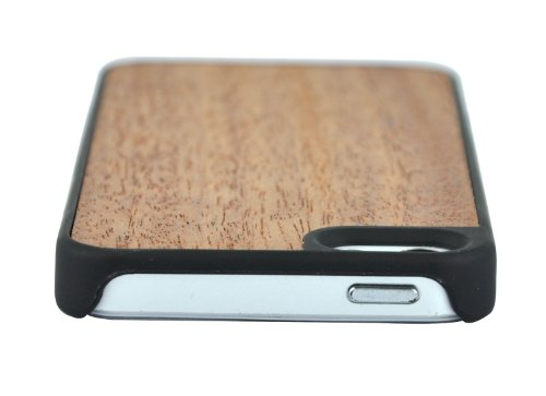 SunSmart Premium Quality Holz Ledertasche Cover für das Apple iPhone 5 5S 5C sapele