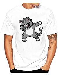 K-youth Camiseta Hombre, Gato de Gafas Camiseta para Hombre tee Cuello Redondo Tops