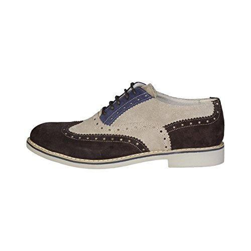 Made In Italia - FEDRO Brogue Chaussures De Ville À Lacets Homme 100% CUIR VÉRITABLE Marron