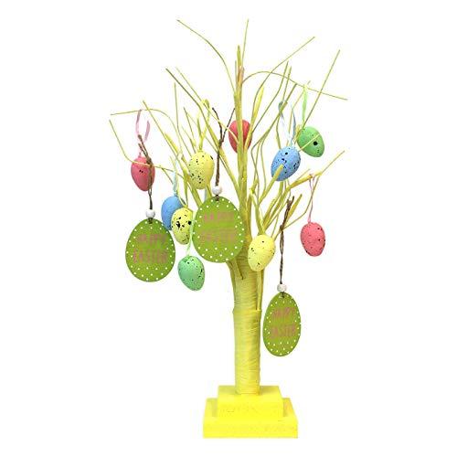 By robelli - albero di pasqua da tavolo, con decorazioni da appendere, colore: giallo