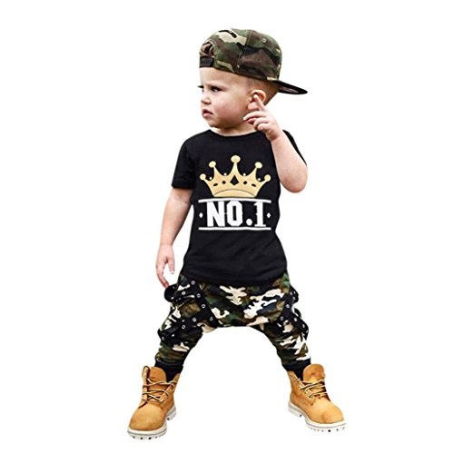 Jungen Bekleidung Sunday 1SET Kinder Baby Kurzarm T-Shirt Tops + Hosen Kleidung Outfits Kleinkind Kinder Baby Boy Brief Camouflage Shorts Outfits Kleidung Set (Schwarz, Alter: 4J) (Boy Splice Short)