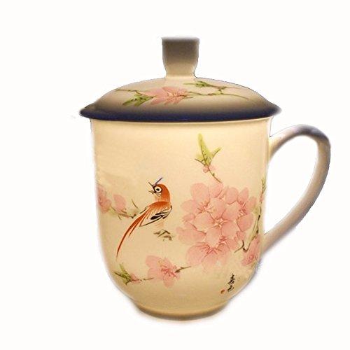 Jingdezhen Pintado a mano Flor de melocotón y Pájaro Porcelana blanca y translúcida Taza para té Con tapa