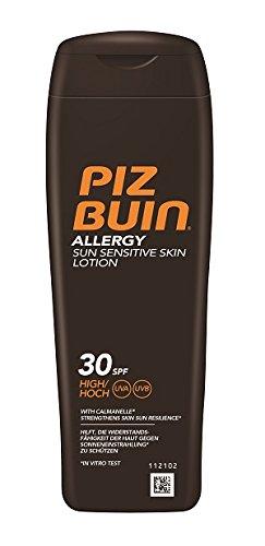 Piz Buin Allergy Sensitive Skin Sun Lotion LSF 30, Feuchtigkeitsspendende Sonnencreme für Allergiker - gegen Hautirritationen, Wasserfeste Sonnenlotion für sonnenempfindliche Haut, 200 ml