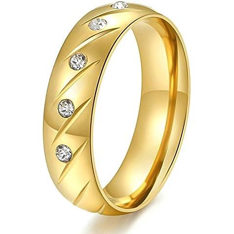 Daesar Joyería Hombre Anillo Compromiso Acero de Oro Dorado para Hombres Boda con Diamante de Imitacón