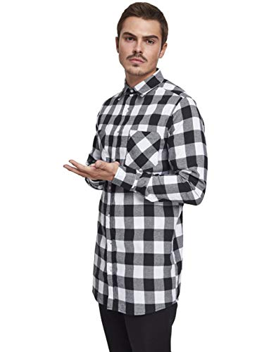 Urban Classics Long Checked Flanell Shirt Chemise Casual, Multicolore (Blk/WHT 00050), Small Homme