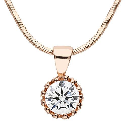 Ring Gold Kristallen Mit Rose (MYA art Damen Halskette Kette Rosegold Vergoldet mit einem Swarovski Elements Strass Kristall Solitär Stein Anhänger Collier Rose Gold MYARGKET-11)