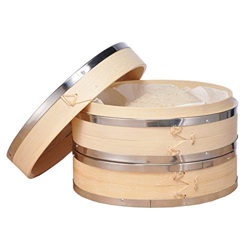 Bambusdämpfer Dampfkorb Bambusdampfkorb Dampfgarer mit Edelstahlringen