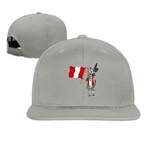 Zebra Holding The Peru Flag Snapback Unisex Flat Bill Visor Hip-Hop Hat Peru Hat Earflap
