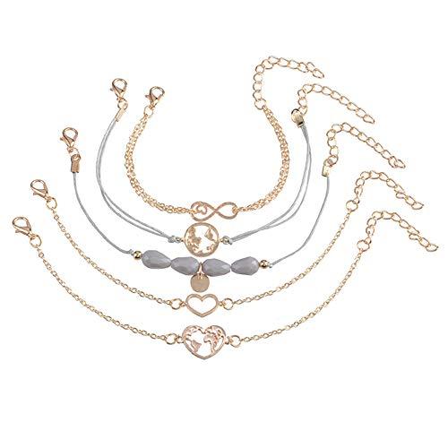 Homeofying 5Pcs / Set Carte du Monde Coeur Perlé Figure 8 Bracelet Infini Bracelet Femmes Bracelet de Bijoux pour Les Femmes d'or