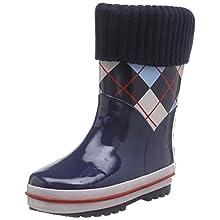 Playshoes GmbH Rubber Checkered Lined, Unisex Kids' Rain Boots, Blue (Original 901), 12.5 UK Child