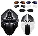 Rziioo Mascarilla de protección respiratoria Airsoft táctico Casco con Visera de 4 Pares Gafas de Caza Paintball Motocicleta Militar Cosplay película Prop,A