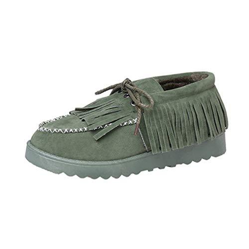 m Pelz Plüsch Schuhe Winter Warme Wohnungen Reine Farbe Fringe Decor Lace-up Komfortable Kuh Wildleder Schuhe ()