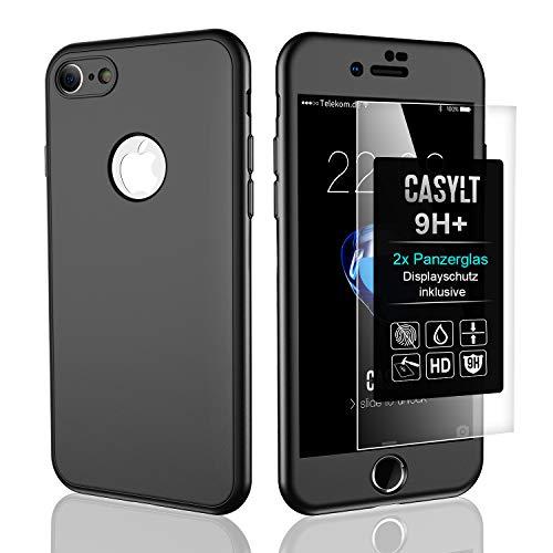 CASYLT [kompatibel für iPhone 6 & 6s] 360 Grad Fullbody Soft-Case Hülle [inkl. 2X Panzerglas] Komplettschutz TPU Handyhülle in Schwarz