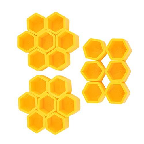 Funnyrunstore Jaune 20Pcs / Kit 17/19 / 21mm Silicone Creux Cache-Vis Hexagonal Moyeu de Roue Styling Boulon Écrou Bouchons Pneus Décoration Extérieur (19#)
