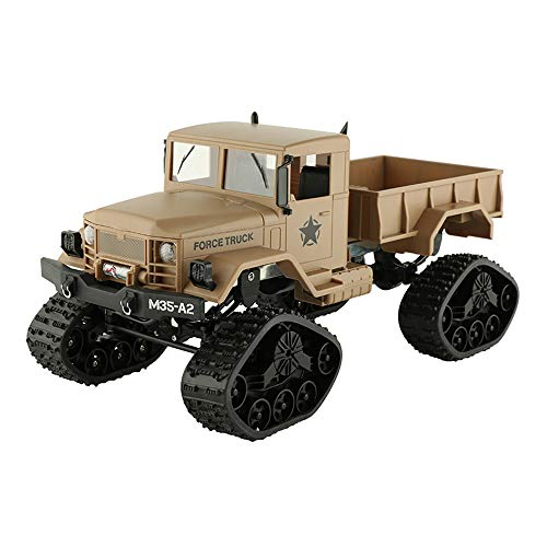 Jamicy® Fernsteuerungsauto, RC Military Truck Armee 1:16 4WD Kettenkarussell Crawler Off-Road Auto RTR Spielzeug (Gelb)