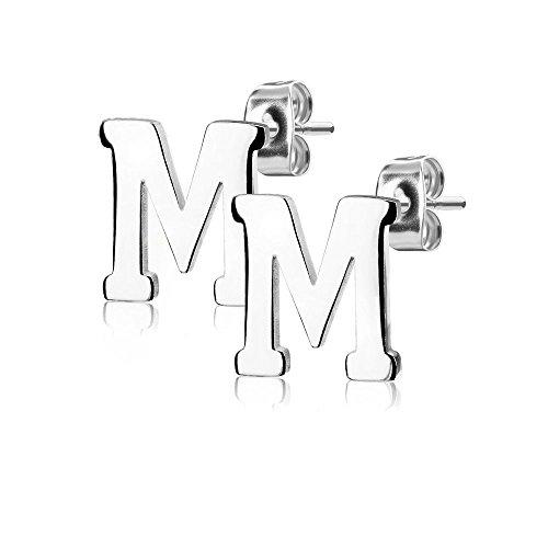 Bungsa BUCHSTABE M Ohrstecker Silber - BUCHSTABEN M Ohrring in Silber - Alphabet Ohrringe zum Stecken - aus Edelstahl - Ohrschmuck für Damen, Kinder & Herren