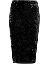 The Home of Fashion Plus Size Black Crushed Velvet Gothic Midi Pencil Skirt