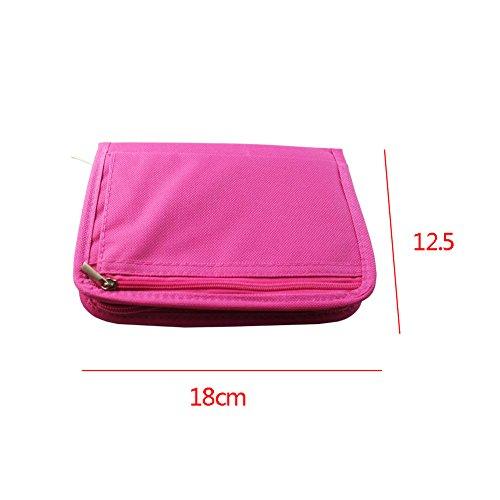 Reisebrieftasche Pass Tasche Reiseorganizer Reisepasshülle mit Reißverschluss Vier Farben (Orange) Rosa