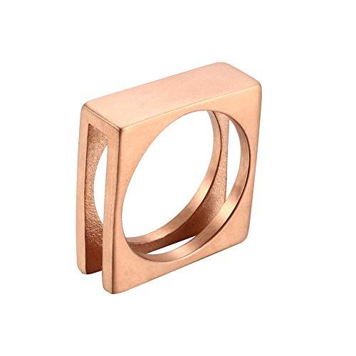 SSLL Ringe für Herren Rechteck Ring Durchbrochene Runde Rose Rose Gold Party Hochzeitsschmuck, 11