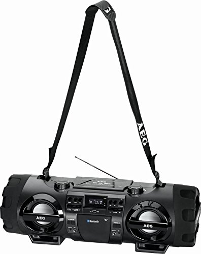 Bluetooth Stereo-Radio mit Fernbedienung und Discolicht Ghettoblaster Stereoanlage CD-Player USB MP3 Tragegurt (AUX-IN - CD/MP3 fähig - tragbar) (Cd Ipod-boombox)